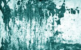 Grungy rusted metal surface in cyan tone. Abstract background and texture royalty free stock images