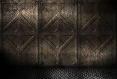 Grungy rusty metal industrial plates room Stock Images