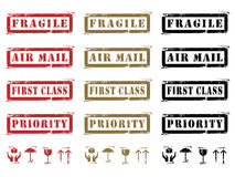 Grungy Shipping Labels And Icons. Three different colored Grungy Shipping Labels and Icons. (Fragile, Air Mail, First Class, Priority and Icons Stock Images