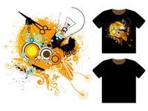 Grungy Shirt-Auslegung-Schablone vektor abbildung
