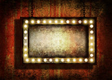 Grungy sign with lights Royalty Free Stock Photography