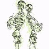 Grungy skelettpar vektor illustrationer