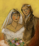 Grungy sketch of newlyweds royalty free stock photo