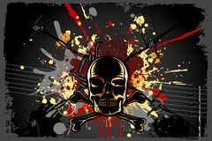 Grungy Skull Background. Illustration of skull on grungy abstract background Royalty Free Stock Photo