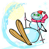 Grungy snowman and ski Royalty Free Stock Images