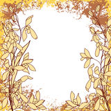 Grungy square frame in gold and brown colors. Floral ornament with tropical orchid flowers. Ink  collection Stock Image