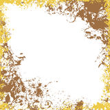 Grungy square frame in gold and brown colors. Ink vector collection Stock Image