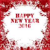 Grungy square Greeting card in red colors. Happy New Year 2016. Ink vector collection Stock Photo