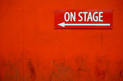 Theater Sign. A Grungy On Stage Sign Outside A Theatre Door Royalty Free Stock Photos