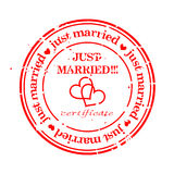Grungy stamp - just married Royalty Free Stock Photography