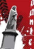 Grungy standbeeld met de bouw van vector Royalty-vrije Stock Afbeeldingen