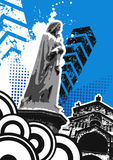 Grungy standbeeld met de bouw van vector Stock Afbeeldingen