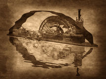 Grungy Steampunk Boat. Illustration of a grungy steampunk riverboat on a sepia background Royalty Free Stock Photography