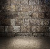 Grungy steenmuur en vloer Stock Afbeelding