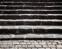 Grungy stone stairway Stock Photo