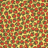 Grungy strawberries. Seamless wallpaper with many cartoon strawberries on yellow background with grunge effect, pattern Vector Illustration