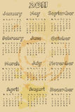 Grungy style 2011 calendar Royalty Free Stock Images