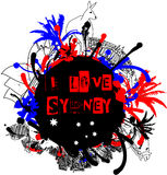 Grungy Sydney and Australia Design Element Royalty Free Stock Photo