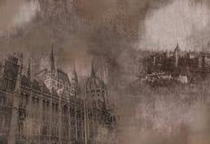 Grungy tappningkort av Budapest Arkivbilder