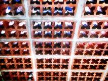 Grungy textur för vägg för tegelsten för fördjupning för blommamodell Arkivbild