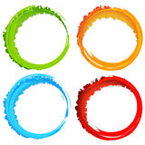 Grungy, textured circles - Colorful circles with splattered pain Stock Images