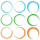 Grungy, textured circles - Colorful circles with splattered pain Stock Photos