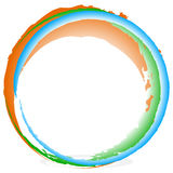 Grungy, textured circles - Colorful circles with splattered pain Royalty Free Stock Photo