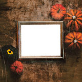 Grungy textured halloween frame with pumpkins Royalty Free Stock Photos