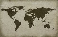Grungy textured world map Stock Photos