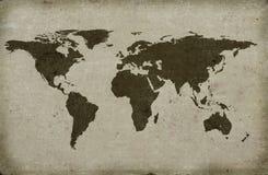 Grungy textured world map. Close-up of grungy textured world map Stock Photos