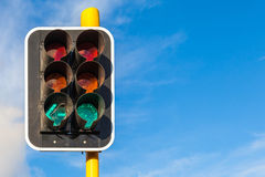 The grungy traffic lights with beautiful blue sky in backgrounds Stock Images