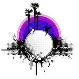 Grungy tropical sunset. Llustration of a tropical sunset with palmtrees, hummingbird and abstract graphic elements Stock Image