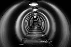 Grungy Tunnel At Night With Circular Light Pattern Stock Photo