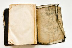 Grungy Unclean Opened Old Bible. Unclean stained grungy filthy shabby old opened Bible Royalty Free Stock Images