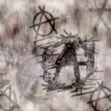 grungy vägg för anarkigrafitti Arkivbild