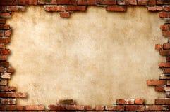 grungy vägg för tegelstenram Arkivbild