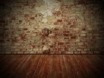 Grungy vägg och trägolv, bakgrund för mörkt rum Fotografering för Bildbyråer