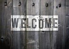 Grungy välkommet tecken Arkivfoto
