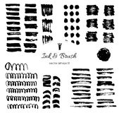 Grungy vector brush strokes, shapes Set. Vector elements for Design. Ink and paper drawings, painting. Vector black hand drawn stripes Stock Photography