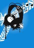 Grungy vectorhoofdtelefoons Stock Afbeelding