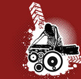 Grungy Vektor DJ, Frau Stockfoto