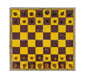 Grungy Vintage Chess Board with Pieces in Place Stock Image