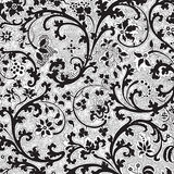 Grungy vintage floral damask scrapbook background Stock Images