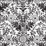 Grungy vintage floral damask scrapbook background. Illustration Royalty Free Stock Image