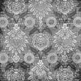 Grungy Vintage Floral Damask Scrapbook Background. A grungy vintage floral damask scrapbook template or background stock photos