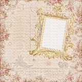 Grungy vintage floral scrapbook frame background Royalty Free Stock Photography