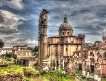 Grungy vintage picture of Trajan's Forum in Rome Stock Photography
