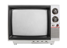 Grungy vintage portable television isolated with turned off scre Royalty Free Stock Images