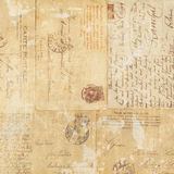 Grungy vintage postcard ephemera collage background Royalty Free Stock Photography