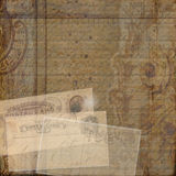 Grungy vintage postcard ephemera collage background Stock Photo